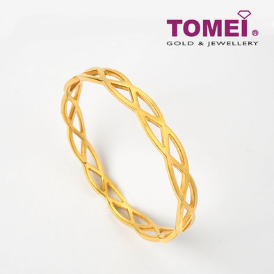 Minimalist Bangle Crocheted Lace Inspired | Tomei Yellow Gold 999 (24K) (BTL-5D-013)