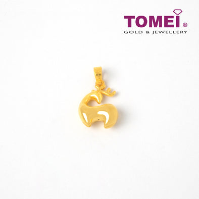 Reindeer in Repose Pendant | Tomei Yellow Gold 999 (24K) (BTP-5D-003)