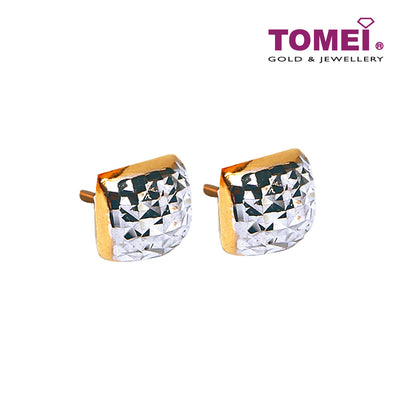 [Online Exclusive]Dual-Tone Glitzy Glam Studded Earrings | Tomei Yellow Gold 916 (22K) (9Q-ER1699-2C)