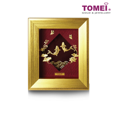 [Online Exclusive] Auspicious Koi and Butterflies Duo Lotus Frame (如鱼得水) | Tomei x Prima Art Yellow Gold 999 (24K) Gold Sheet (CGS-0757-01)