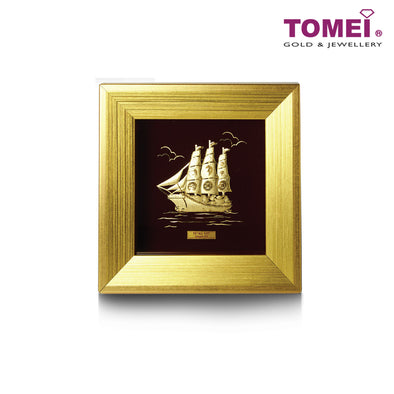 The Wealth Ship Frame (一帆风顺) | Tomei x Prima Art Yellow Gold 999 (24K) Gold Sheet (CGS-0732-03)