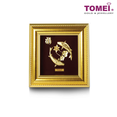Golden Koi with Lotus Frame (莲年有鱼) | Tomei x Prima Art Yellow Gold 999 (24K) Gold Sheet (CGS-0122-02)