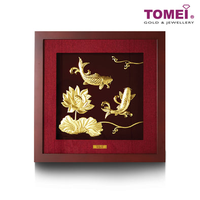 The Koi Duo with Lotus Frame (繁花似锦) | Tomei x Prima Art Yellow Gold 999 (24K) Gold Sheet (CGS-0122-02)