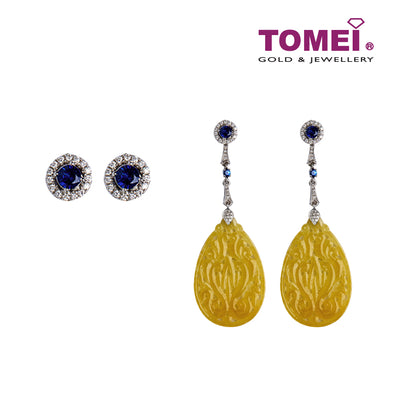 Oriental Beauty Jade with Blue Sapphire Earrings | Tomei White Gold 750 (18K) (VQ0000034)