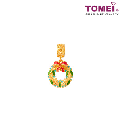 Christmas Wreath Charm | Tomei Yellow Gold 916 (22K) with Complimentary Red Bracelet (TM-YG0705P-EC)