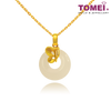 [Online Exclusive] Butterfly White Nephrite Pendant | Goldrious Abundance Collection | Tomei Yellow Gold 999 (24K) with Complimentary Necklace (NEP-P-HD)