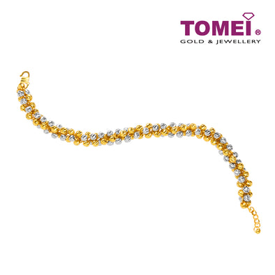 Dual-Tone Shimmering Dewdrops Bracelet | Tomei Yellow Gold 916 (22K) (BB1201-E-2C)