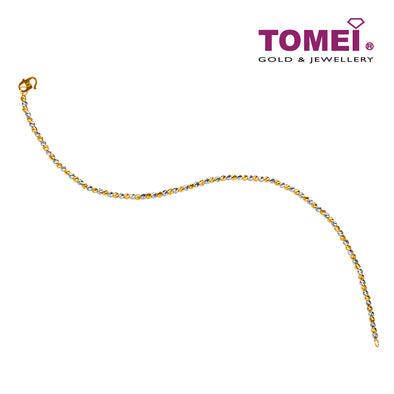 Dual-Tone Shimmering Dewdrops Bracelet | Tomei Yellow Gold 916 (22K) (BB2248-B-2C)