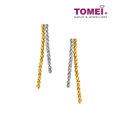 Dual-Tone Shimmering Dewdrops Dangling Earrings | Tomei Yellow Gold 916 (22K) (SET-E2975-2C)
