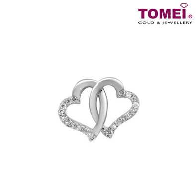 "Tomei White Gold 375 (9K) ""Entwined Hearts"" Diamond Pendant (P4004)"