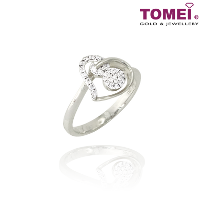 "Tomei 375 (9K) White Gold ""Love Keeper"" Diamond Ring (R3987)"