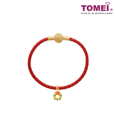 Christmas Wreath Charm | Christmas | Tomei Yellow Gold 916 (22K) with Complimentary Red Bracelet (TM-YG0705P-EC)