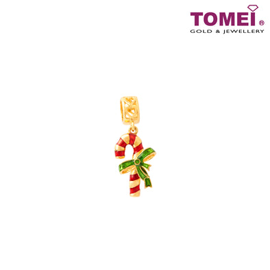 Candy Cane Charm | Tomei Yellow Gold 916 (22K) with Complimentary Red Bracelet (TM-YG0706P-EC)
