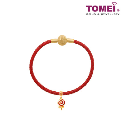 Lollipop Charm | Christmas | Tomei Yellow Gold 916 with Complimentary Red Bracelet (22K) (TM-YG0541P-R-EC)