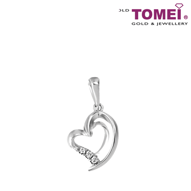 "Tomei White Gold 375 (9K)  ""Love Keeper"" Diamond Pendant (P4368)"