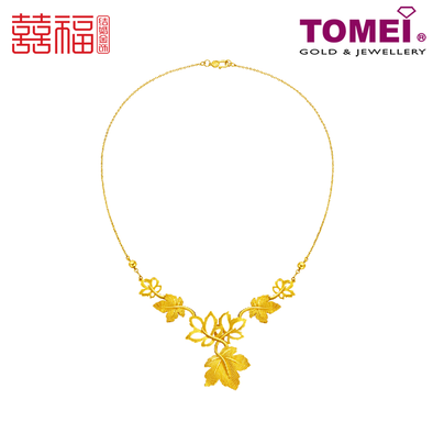 [ONLINE EXCLUSIVE PRE ORDER] Tomei x Xifu Yellow Gold 999 (24K) Maple Leaf: Love Whisper Necklace 枫叶传情•S 项链 (XF-FYCQ-S-N)