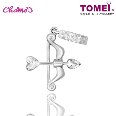 "Tomei White Gold 585 (14K) ""Cupid Bow & Arrow"" Chomel Charm (P5554)"