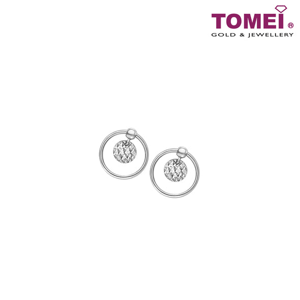Earrings of  Spherical Duo with Enchanting Effulgence | Snowy Snowball Collection | Tomei White Gold 585 (14K) (E2119)