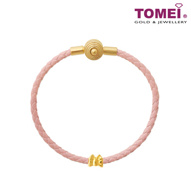Fairy Ribbon Charm | Tomei Yellow Gold 916 (22K) with Complimentary Peach Pink Bracelet (TM-ABIT018-HG-1C )