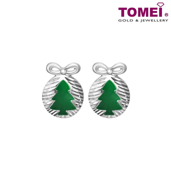 "Tomei White Gold 585 (14K) Dazzling Dreams Collection ""Christmas Tree with Bow"" Earrings (E1987)"