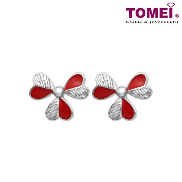 Blossoms in Rouge Earrings | Dazzling Dreams Collection | Tomei White Gold 585 (14K) (E1985)