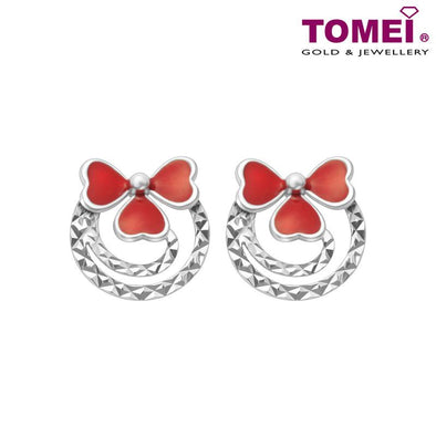 "Tomei White Gold 585 (14K) ""Dazzling Dreams Collection - Wreath Bow"" Earrings (E2012)"