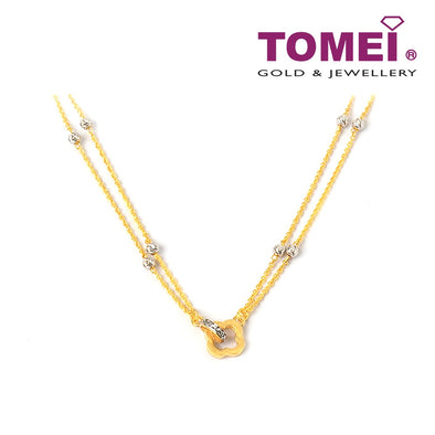 Dual-Tone Necklace of Spheres and Quatrefoil in Harmonious Motion | Tomei Yellow Gold 916 (22K) (9N-YG0736P-2C)
