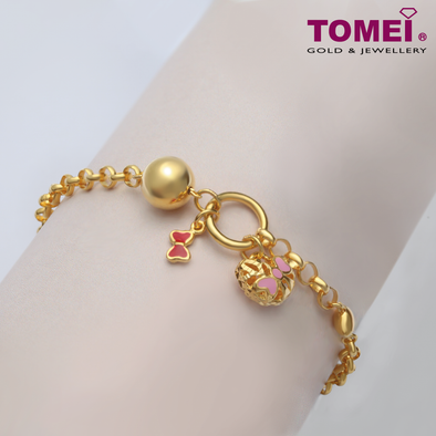 Tomei Yellow Gold 916 (22K) Ribbon of Love Baby Anklet (TZ-B2613-EC)