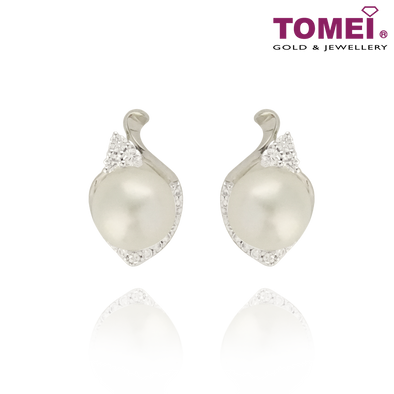 Purest Love Pearl Diamond Earrings | Tomei 375 (9K) White Gold (E1514V)