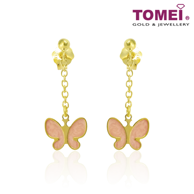 Butterfly Earrings in Pink Italian Enamel | Tomei Yellow Gold 916 (22K) (IQ-ORMOP594/PI/SM-EC)