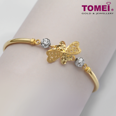 Four-Leaf Clover Baby Bangle | Tomei Yellow Gold 916 (22K) (TZ-LB2922-2C)