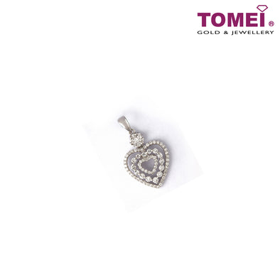 [Last Piece] Pavé of Majestically Resplendent Heart Diamond Pendant | Tomei White Gold 750 (18K) (PD6038)