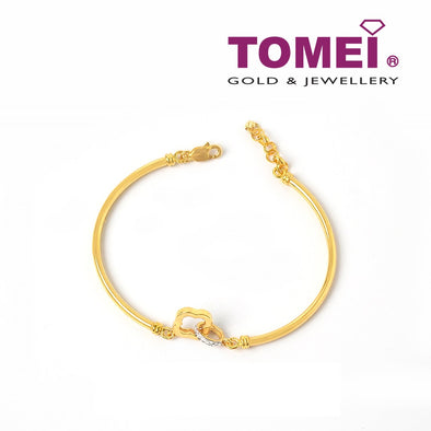 Bangle of Interlaced Sphere and Quatrefoil  | Tomei Yellow Gold 916 (22K) (9L-YG0736P-2C)