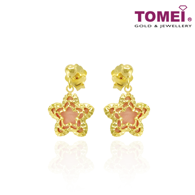 Starry Starry Sweet Romance Earrings | Italy Collection | Tomei Yellow Gold 916 (22K) (IQ-ORDFDIA594G/MOP-EC)