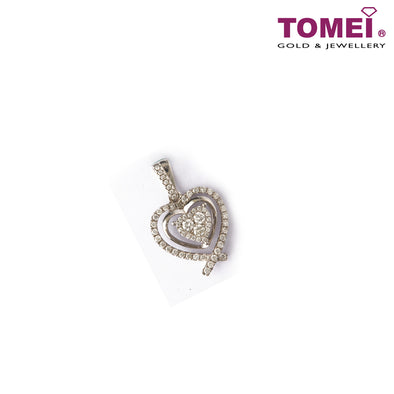 [Online Exclusive] Frond of Luminously Lucent Pavé Diamonds with Heart Pendant | Tomei White Gold 750 (18K) (P4798)