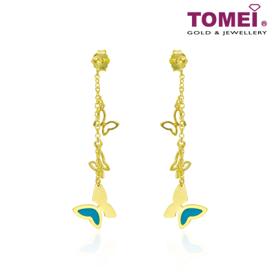 Tomei 916 (22K) Yellow Gold Sweet Romance Butterflies Earrings in Blue Italian Enamel (IQ-ORRIA04G/1150-EC)