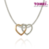 Love Bond Dual-Tone Diamond Pendant | Tomei White Gold 585 (14K) & Rose Gold 375 (9K) (P5856)