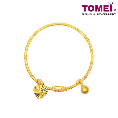 Bell & Heart Baby Bangle | Tomei Yellow Gold 916 (22K)  (9L-BBSE906-2C)