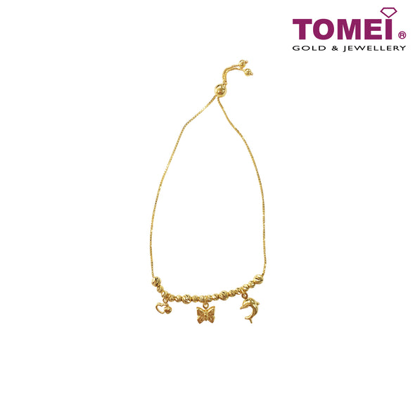 [Online Exclusive] Fairytale of Enchanted Forest Adjustable Bead Bracelet with Dangling Charms | Tomei Yellow Gold 916 (22K) (9M-NO1200-8-1C)