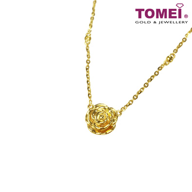 绚丽玫瑰 Beautifully Alluring Rose in Bloom Necklace | Tomei Yellow Gold 916 (22K) (9N-P0ABA-1C)