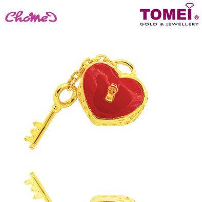 "Tomei Yellow Gold 916 (22K) ""Red Flaming Heart Lock with dangle Key"" Chomel Charm (TM-PT123-EC)"