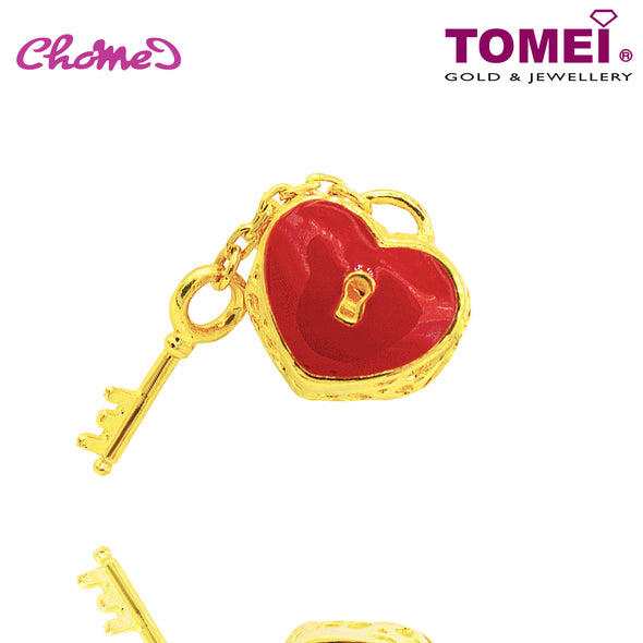 Red Flaming Heart Lock with Dangle Key Chomel Charm | Tomei Yellow Gold 916 (22K) (TM-PT123-EC)