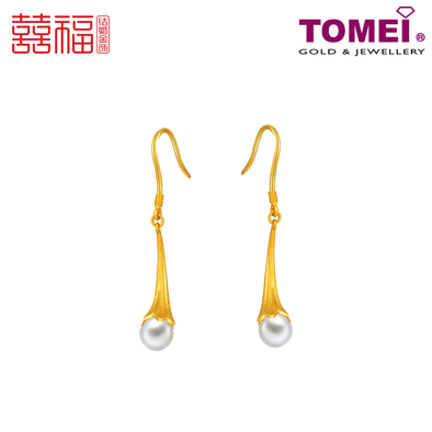 Tomei x Xifu Yellow Gold 999 (24K) Dewdrop Earrings 露珠耳环 (XF-LZ-Q)