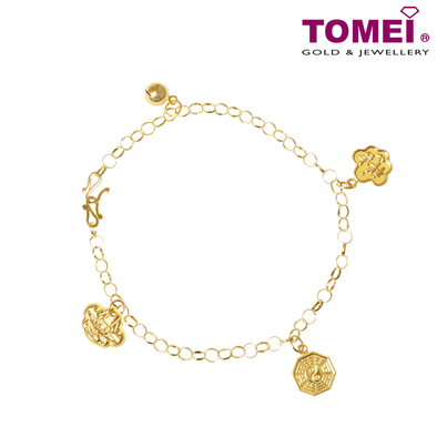 Auspicious Quadruple Treasures Baby Anklet | Tomei Yellow Gold 916 (22K) (9M-ZZSB02-1C)