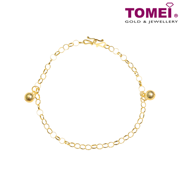 "Tomei Yellow Gold 916 (22K) ""Jingling & Blessing Double Treasures"" Baby Anklet (9M-ZZLB02-1C)"