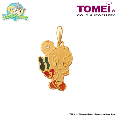 Baby Tweety Pendant | Tomei x Baby Looney Tunes Yellow Gold 916 (22K) (TWB-1)