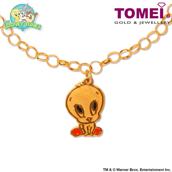 "Tomei x Baby Looney Tunes Yellow Gold 916 (22K) ""Baby Tweety"" Child Bracelet (92-18)"
