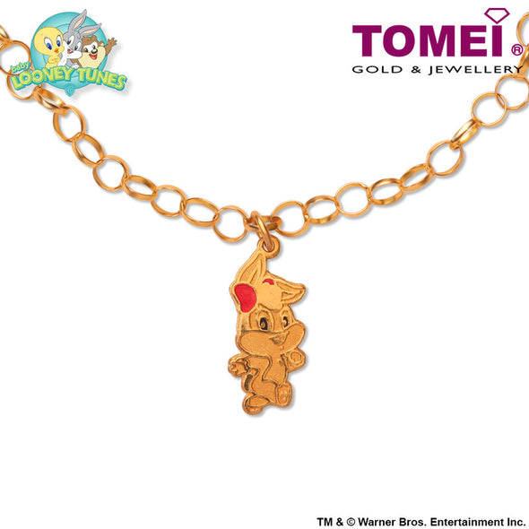 "Tomei x Baby Looney Tunes Yellow Gold 916 (22K) ""Baby Lola Bunny"" Child Bracelet (97-06)"