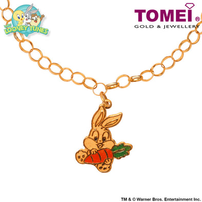 "Tomei x Baby Looney Tunes Yellow Gold 916 (22K) ""Baby Bugs Bunny"" Child Bracelet (91-10)"