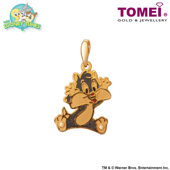 "Tomei x Baby Looney Tunes Yellow Gold 916 (22K) ""Baby Sylvester"" Pendant (SYL-1)"